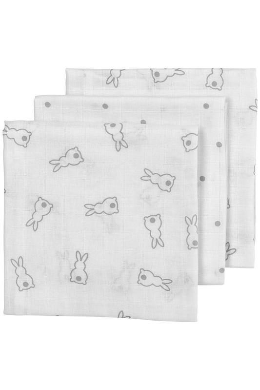 Meyco X Mrs. Keizer 3-Pack Luiers Rabbit - Silver